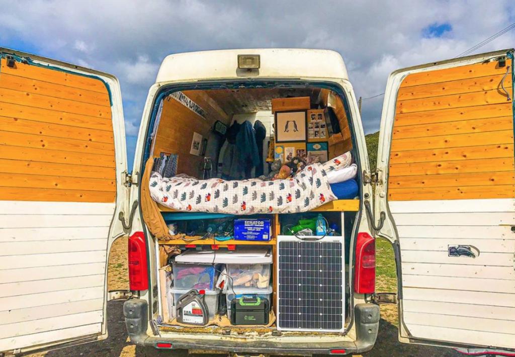 Van life bed layout