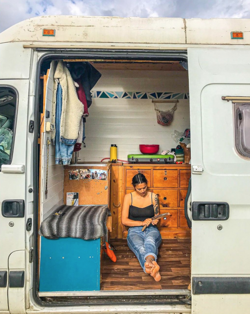 van build mistakes - Drawers. with Rose sat in front of them