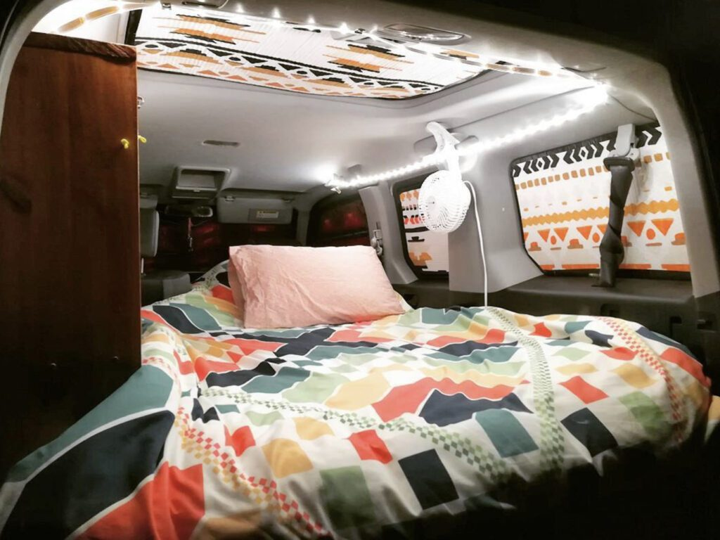 Inside of camper with insulated blinds