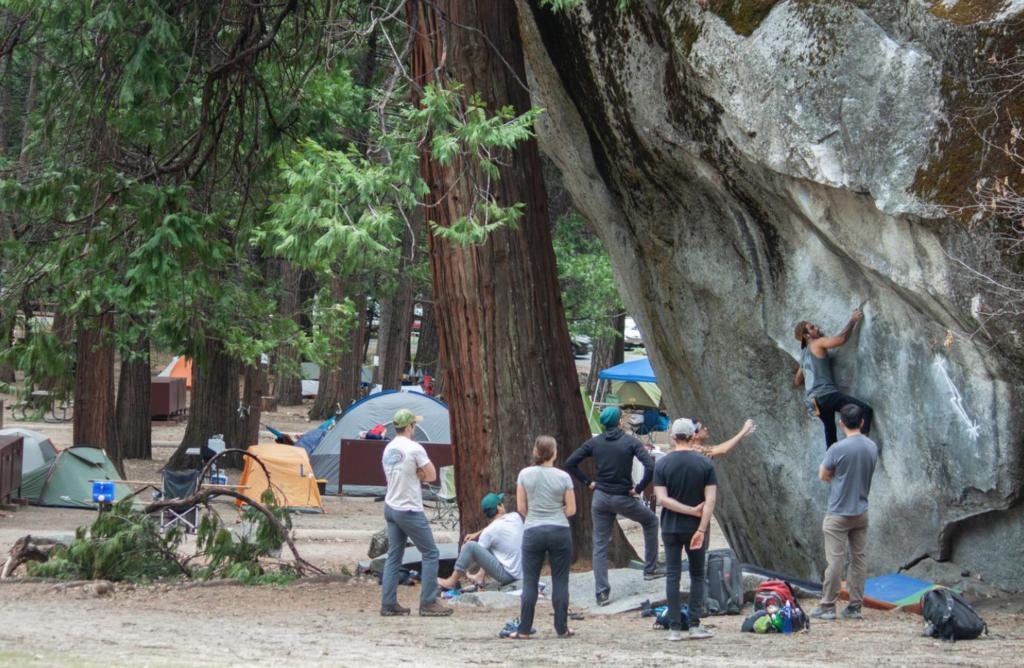 Yosemite camping, climbers in camp 4