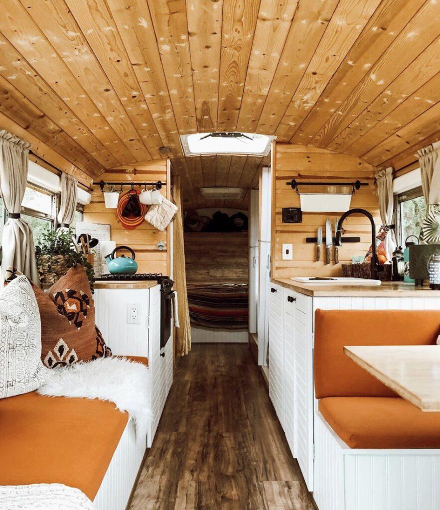 DIY conversion- wooden and orange seats