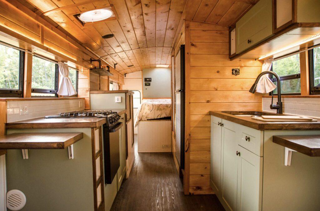Professional skoolie conversion interior