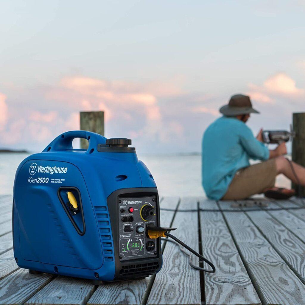 Portable suitcase generator on a pier