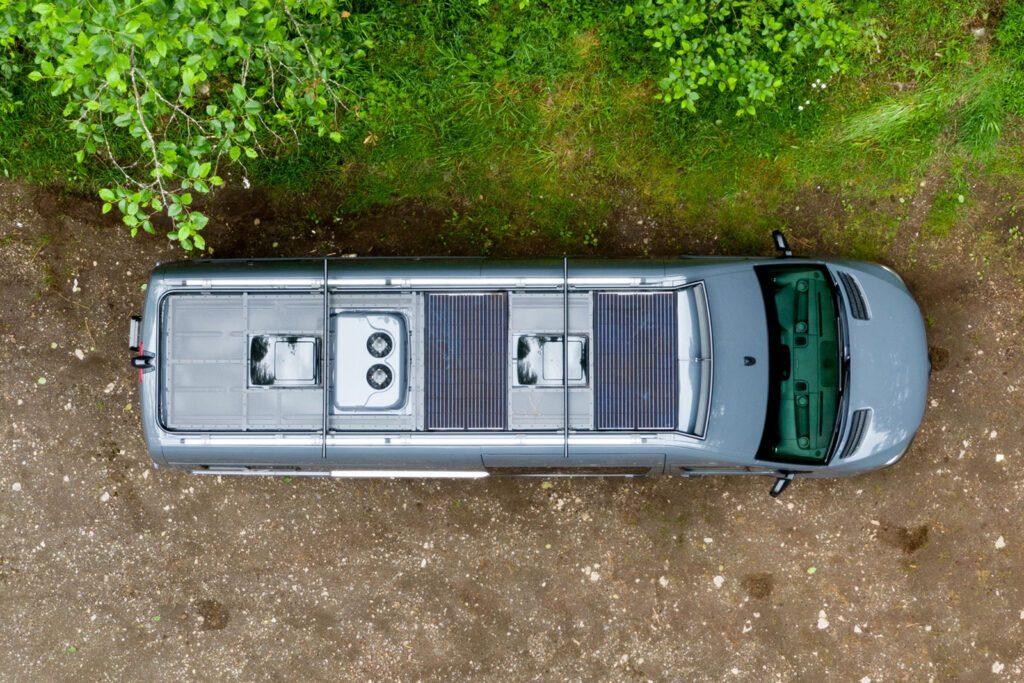 Birdseye shot of Outside Van custom sprinter conversion