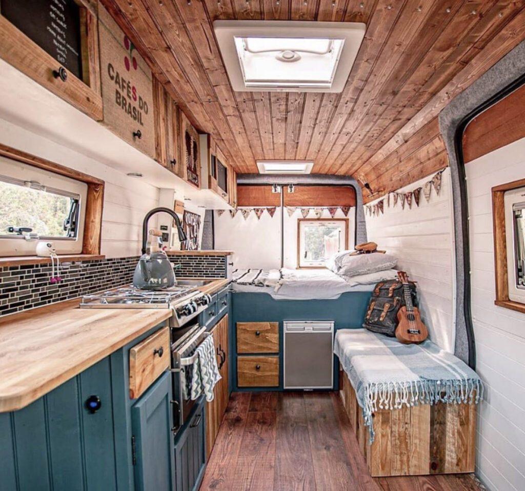 Full shot of a campervan interior