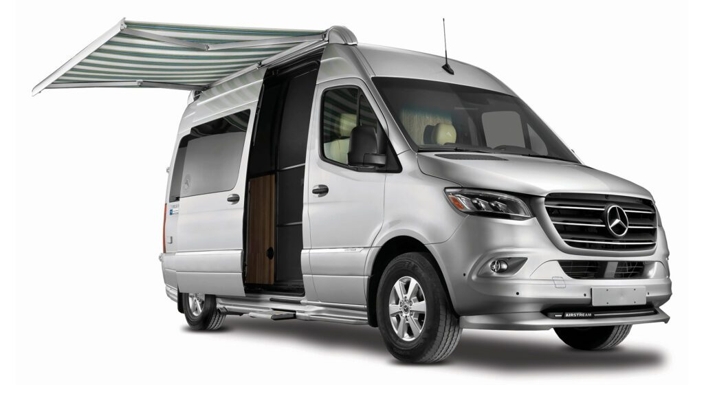 Class B RV: exterior of Airstream Interstate with awning out