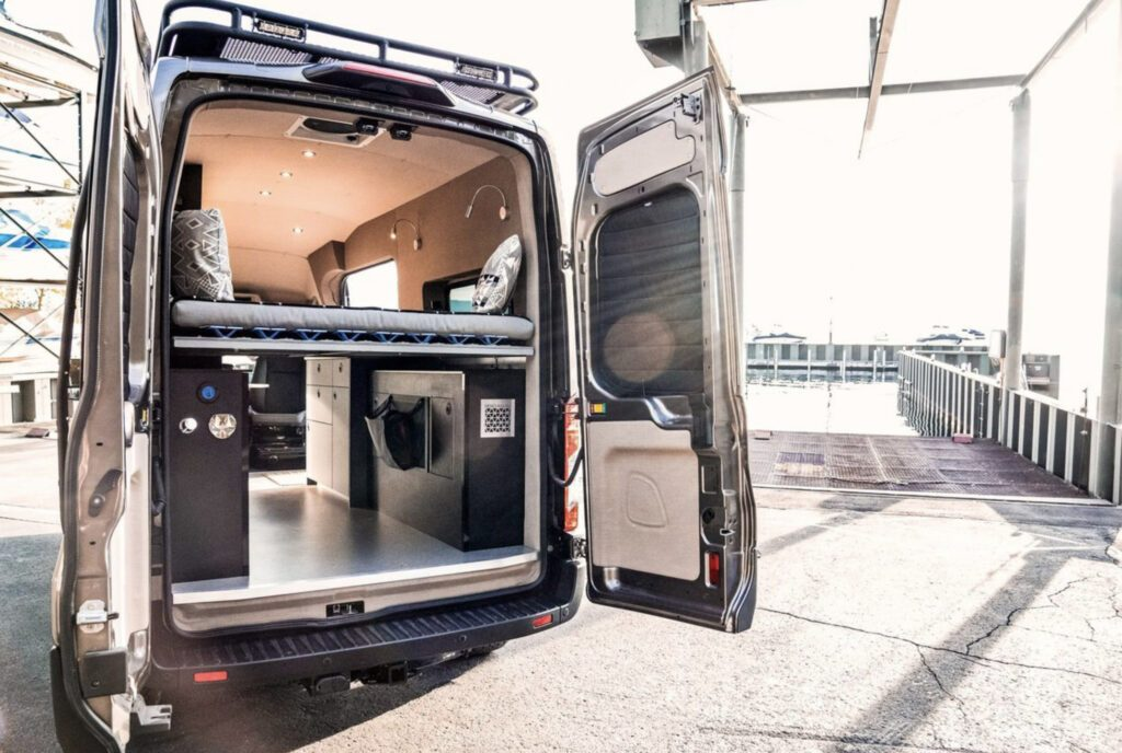 Back shot of ford conversion with doors open