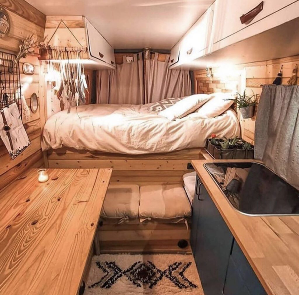 Overhead cabinetry in camper
