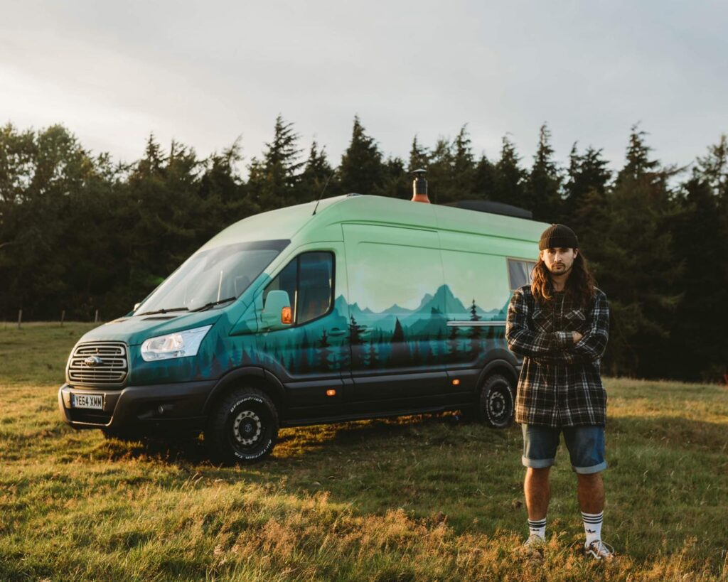 Handcrafted Rustic Campervan with a forest setting paintjob