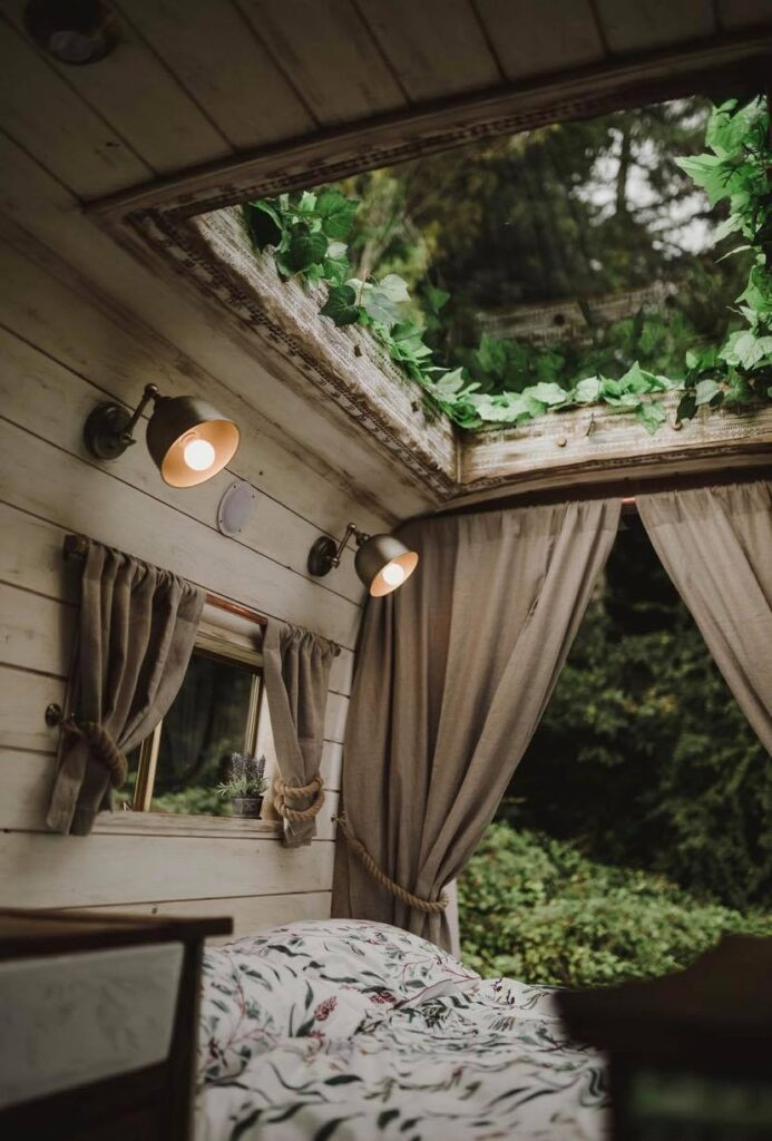 Velux skylight in a Handcrafted Rustic Campervan