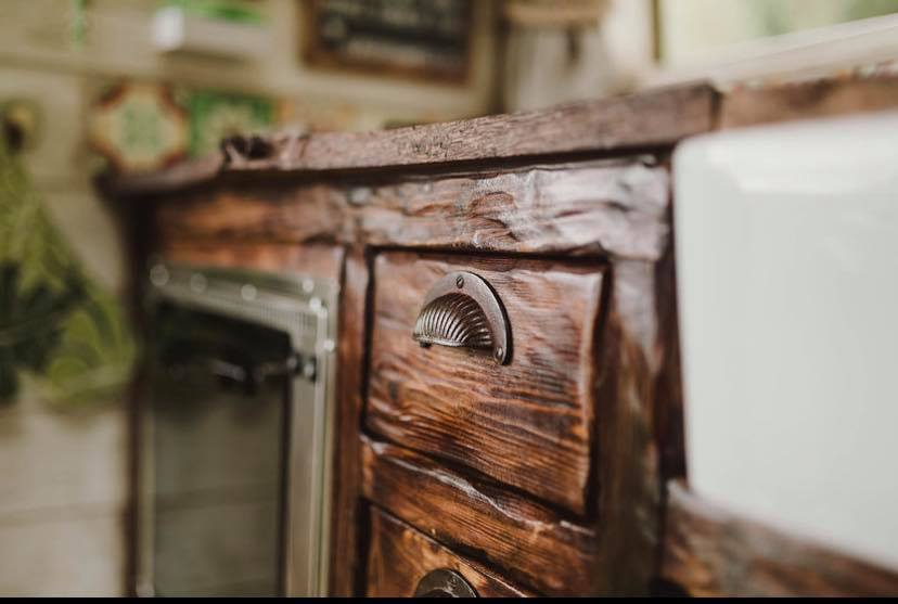 Hobbit style drawers straight out of bag end Handcrafted Rustic Campervan