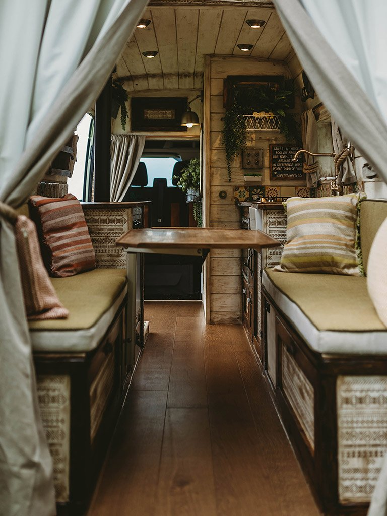 inside this stunning Handcrafted Rustic Campervan.