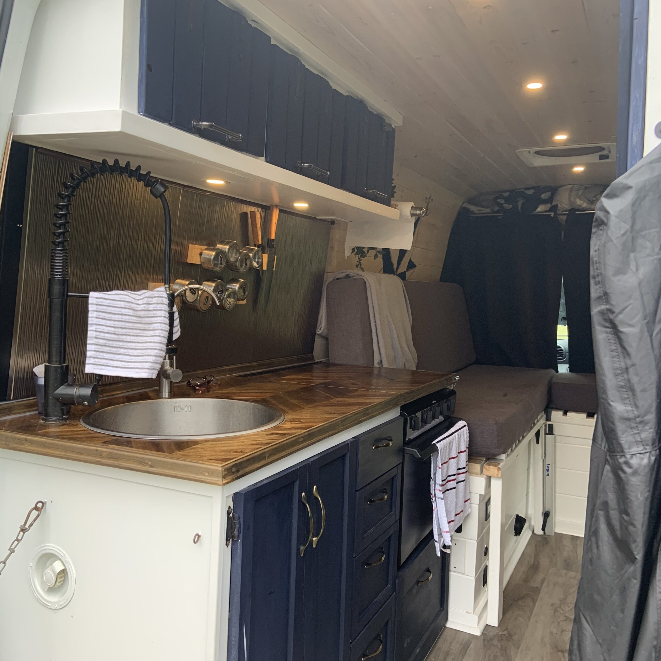 the kitchen view from the back of the van