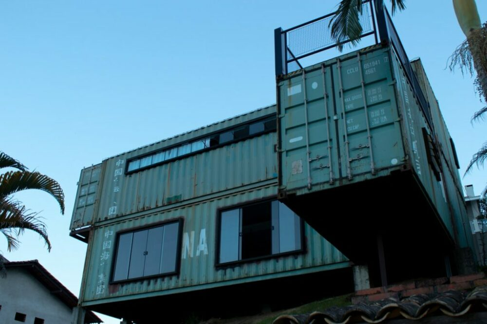 Luxury shipping container homes made from stacked CONEX boxes