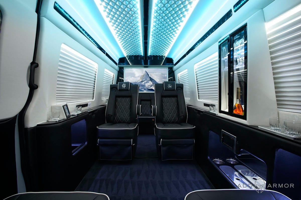 Luxury Interior of AddArmor Sprinter vanlife safety