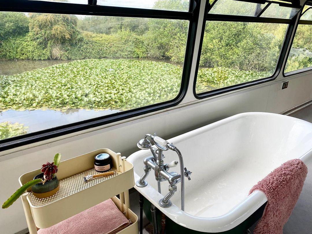 Bathtub inside of a bus conversion