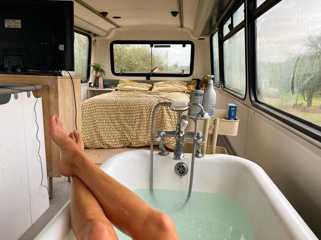 bathtub inside of a bus conversion 2