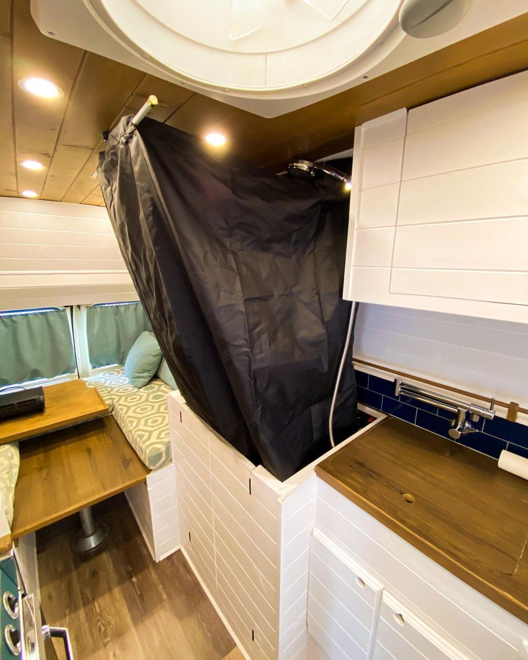 Modular Shower in DIY Van In Use